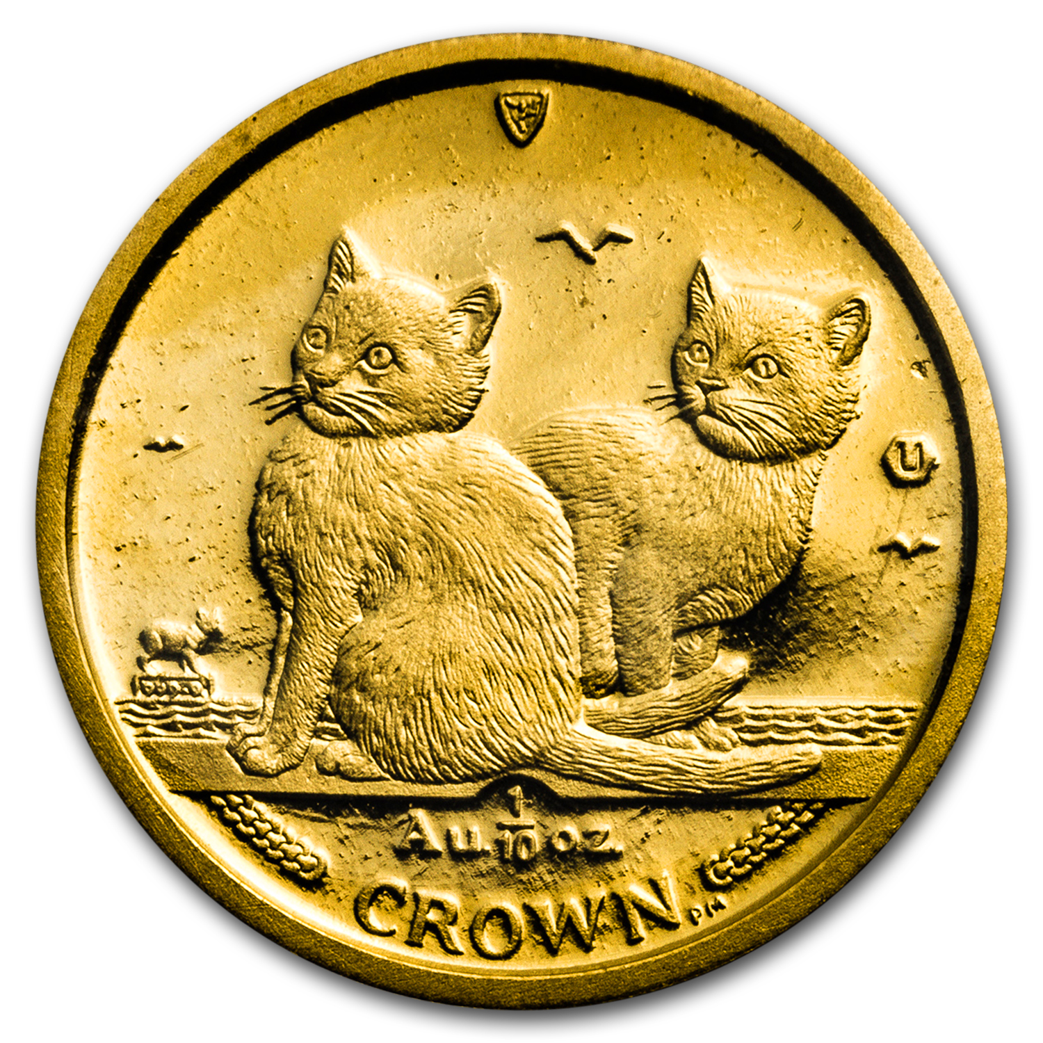 2003 Isle of Man 1/10 oz Gold Balinese Kittens Cat BU