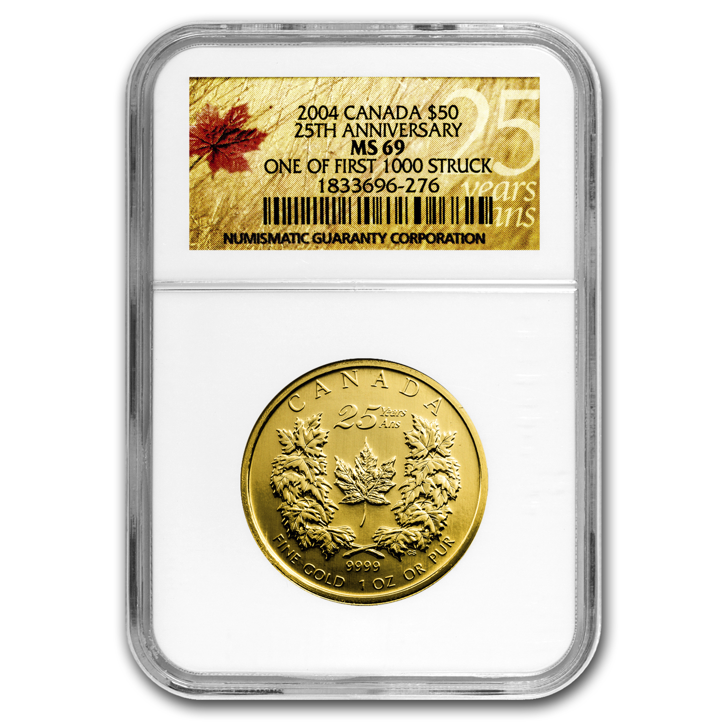 2004 Canada 1 oz Gold Maple Leaf MS-69 NGC (First 1000 Struck)