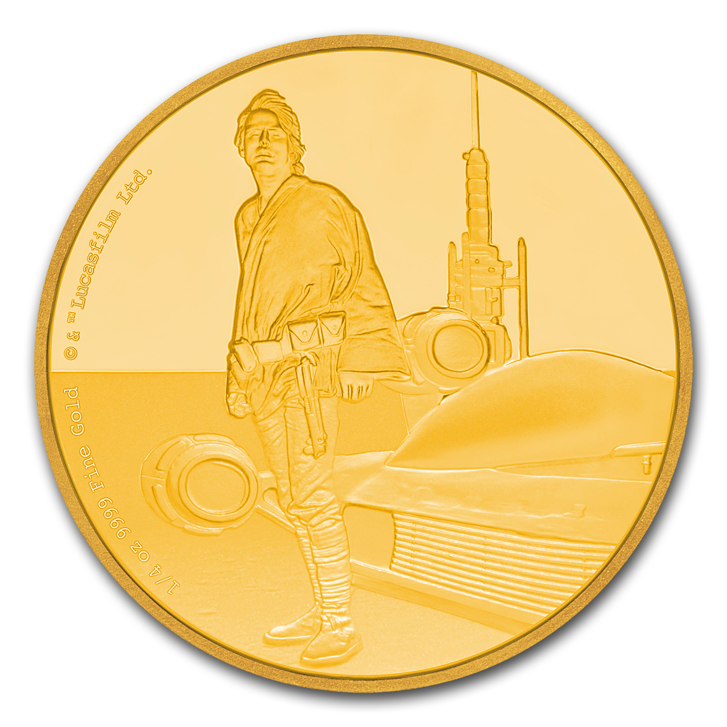 2017 Niue 1/4 oz Gold $25 Star Wars Luke Skywalker Pf (Box & COA)