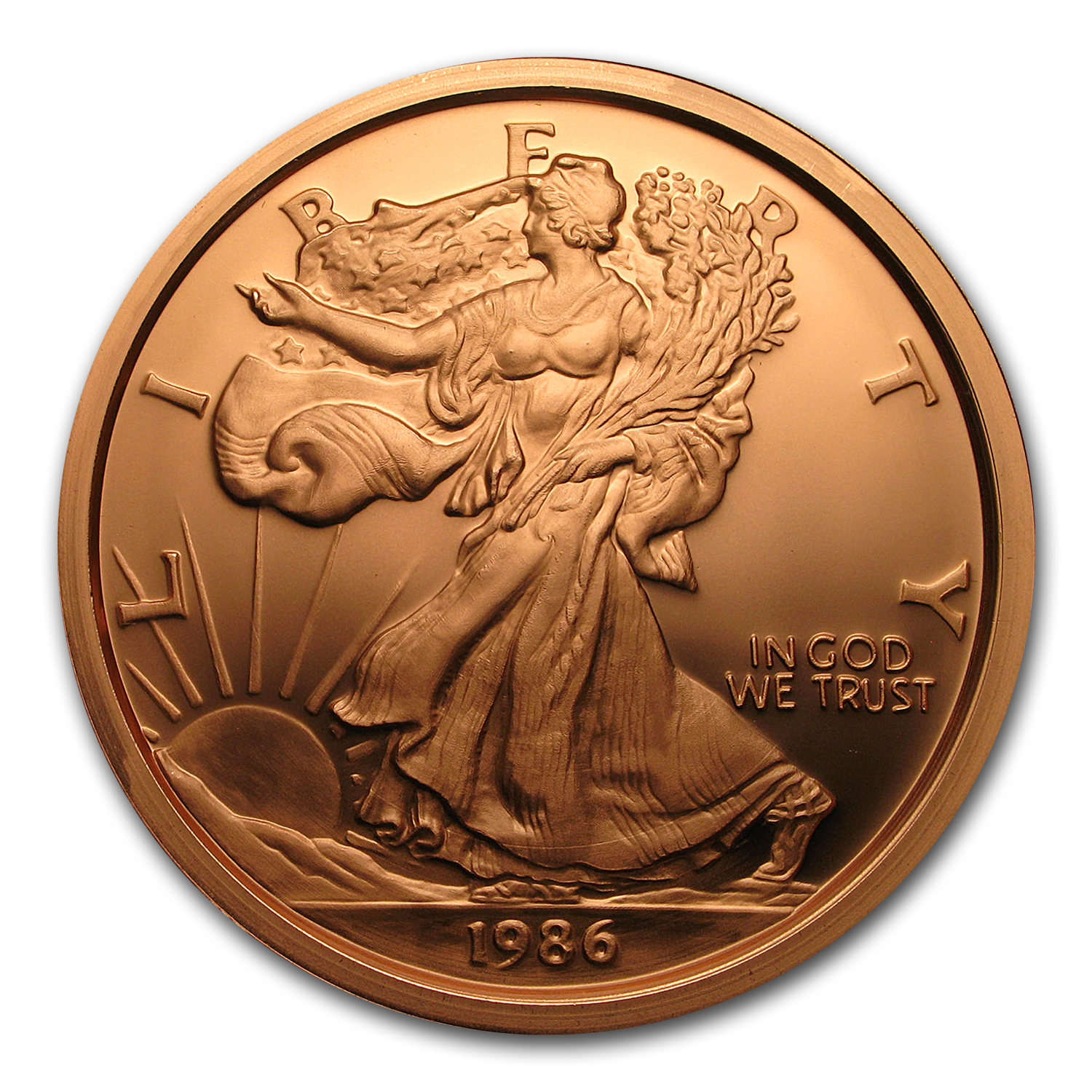 1 Pound Copper Round - Walking Liberty