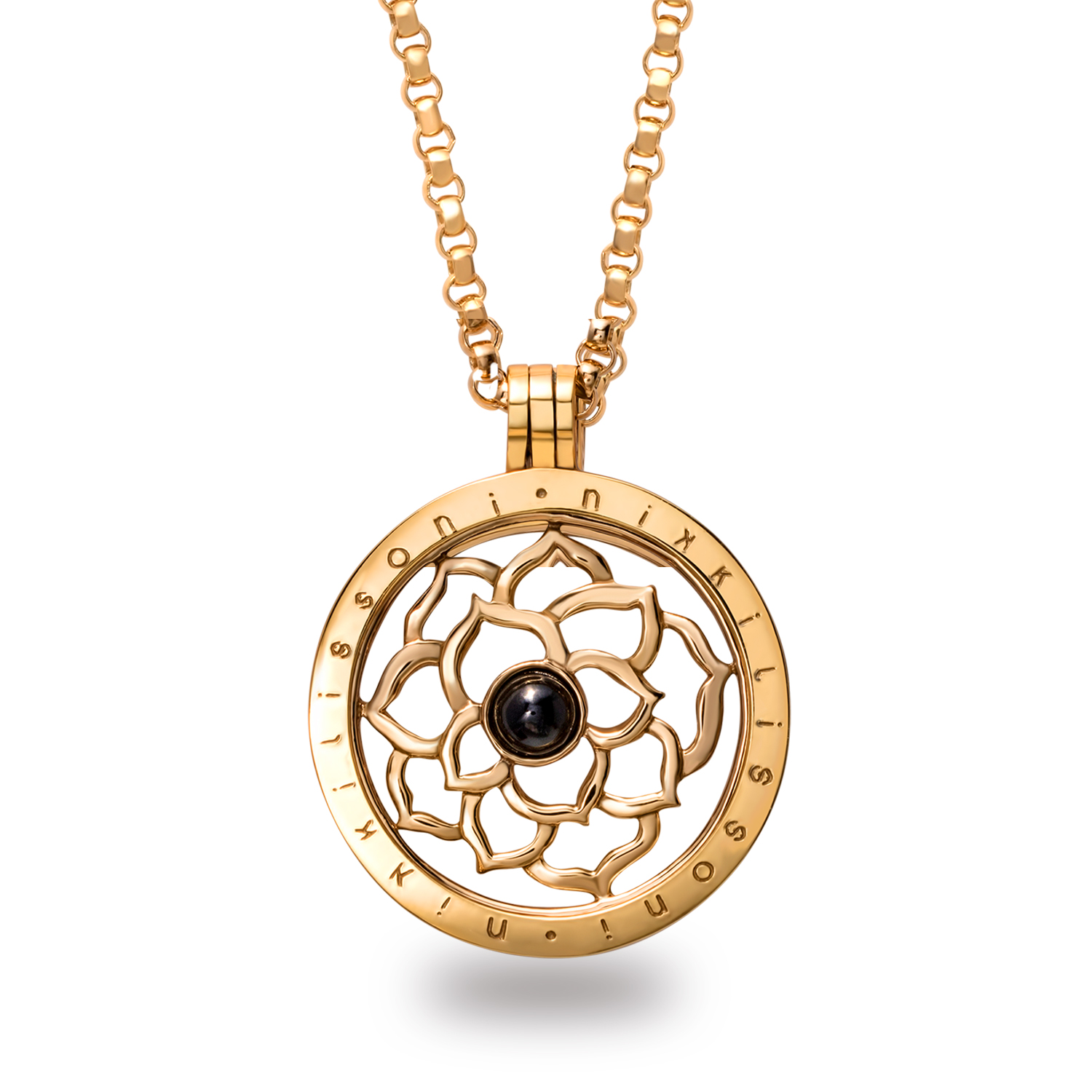 Nikki Lissoni 'Black Onyx Flower' 33 mm Pendant w/Chain