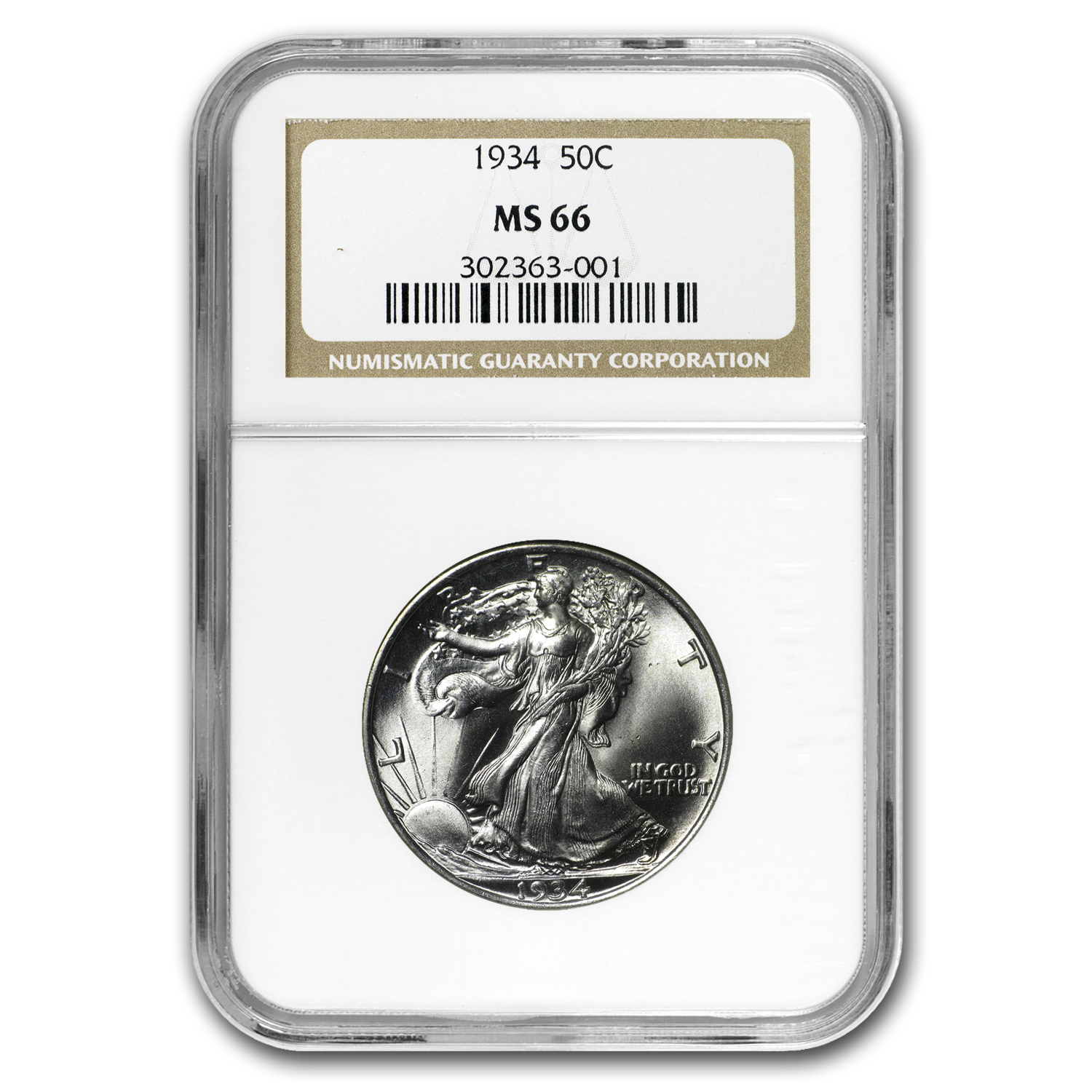 1934 Walking Liberty Half Dollar MS-66 NGC
