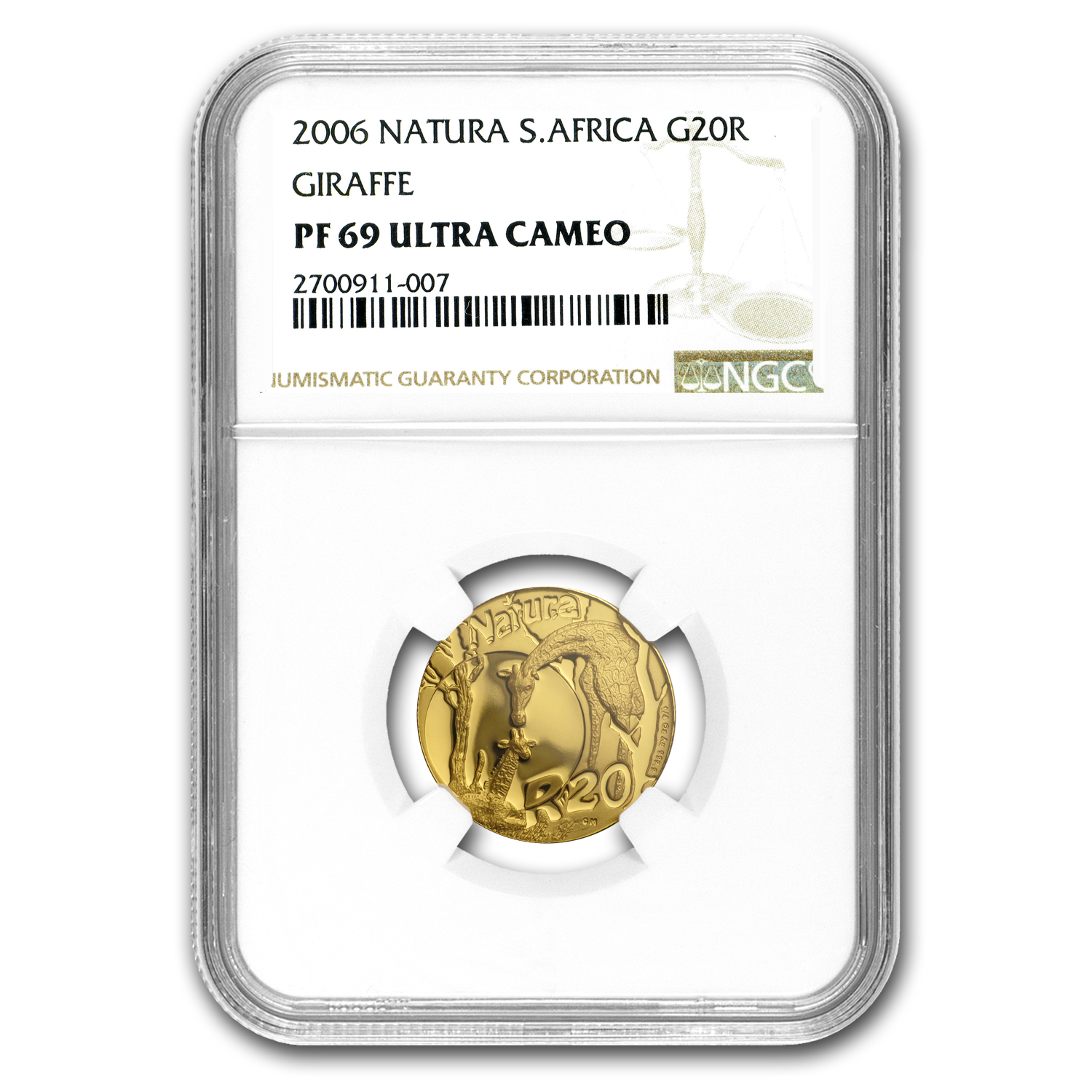 2006 South Africa 1/4 oz Proof Gold Natura Giraffe PF-69 NGC