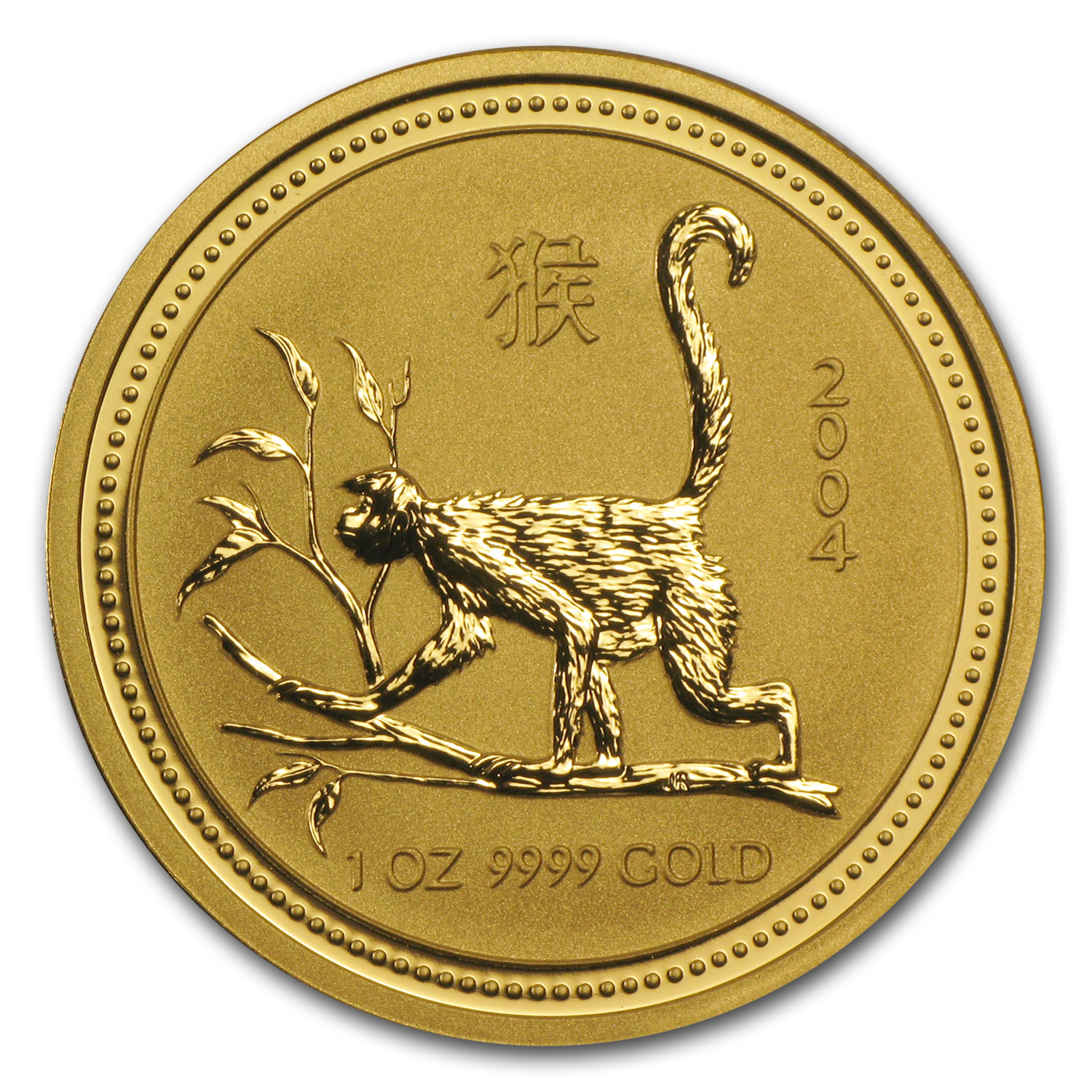 2004 1 oz Gold Lunar Year of the Monkey BU (Series I)