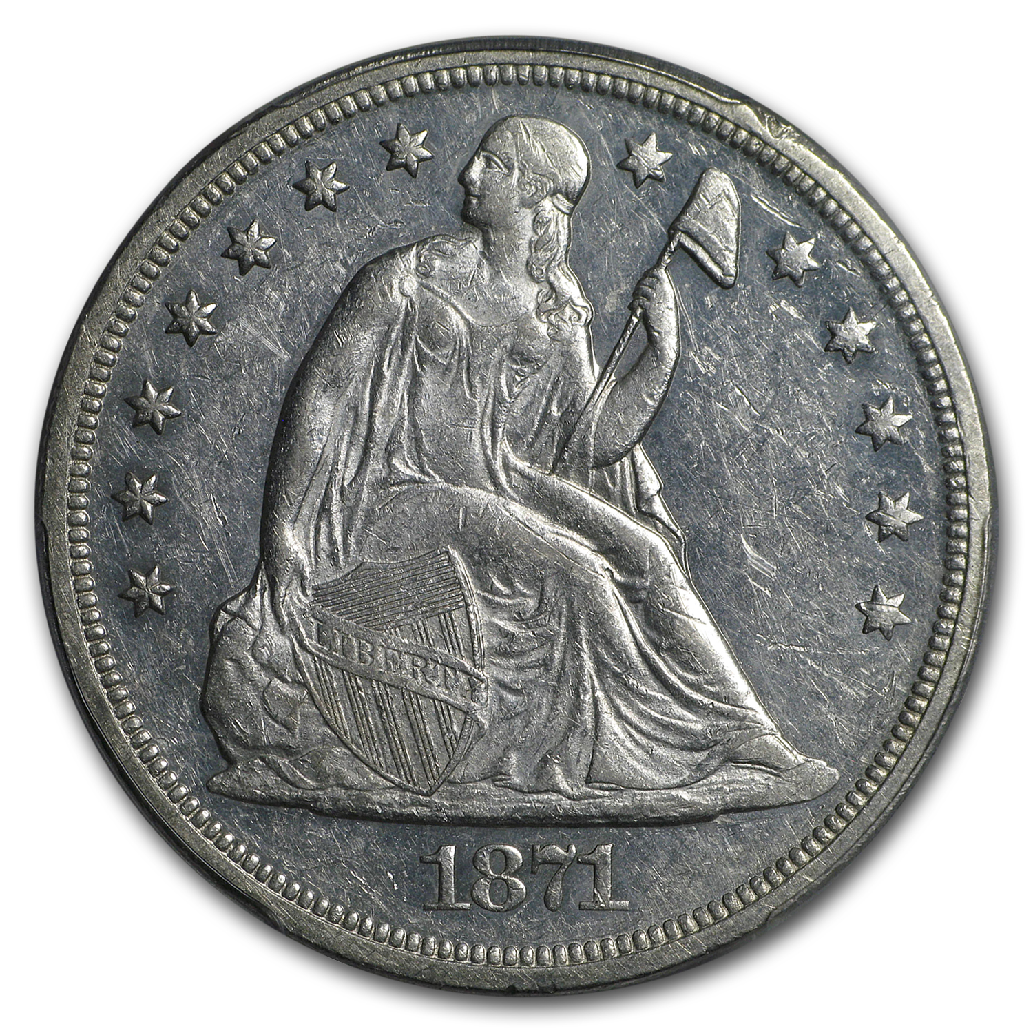 1871 Liberty Seated Dollar AU-55 PCGS