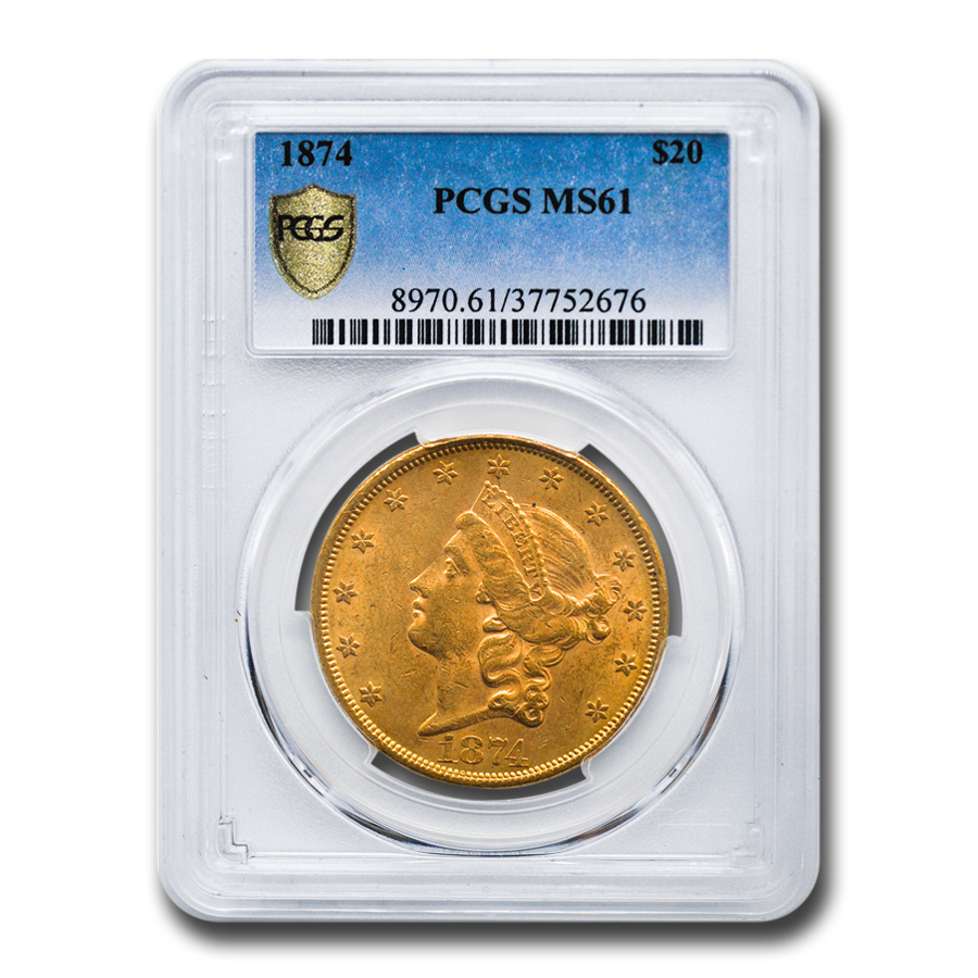 1874 $20 Liberty Gold Double Eagle MS-61 PCGS