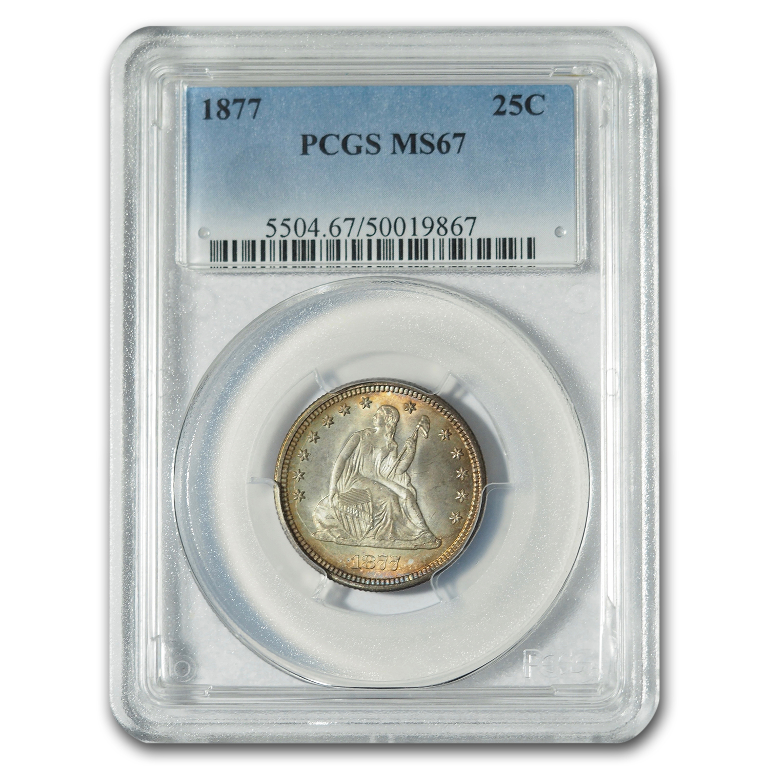 1877 Liberty Seated Quarter MS-67 PCGS