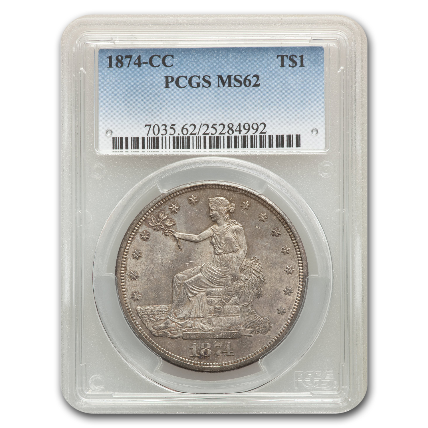 1874-CC Trade Dollar MS-62 PCGS