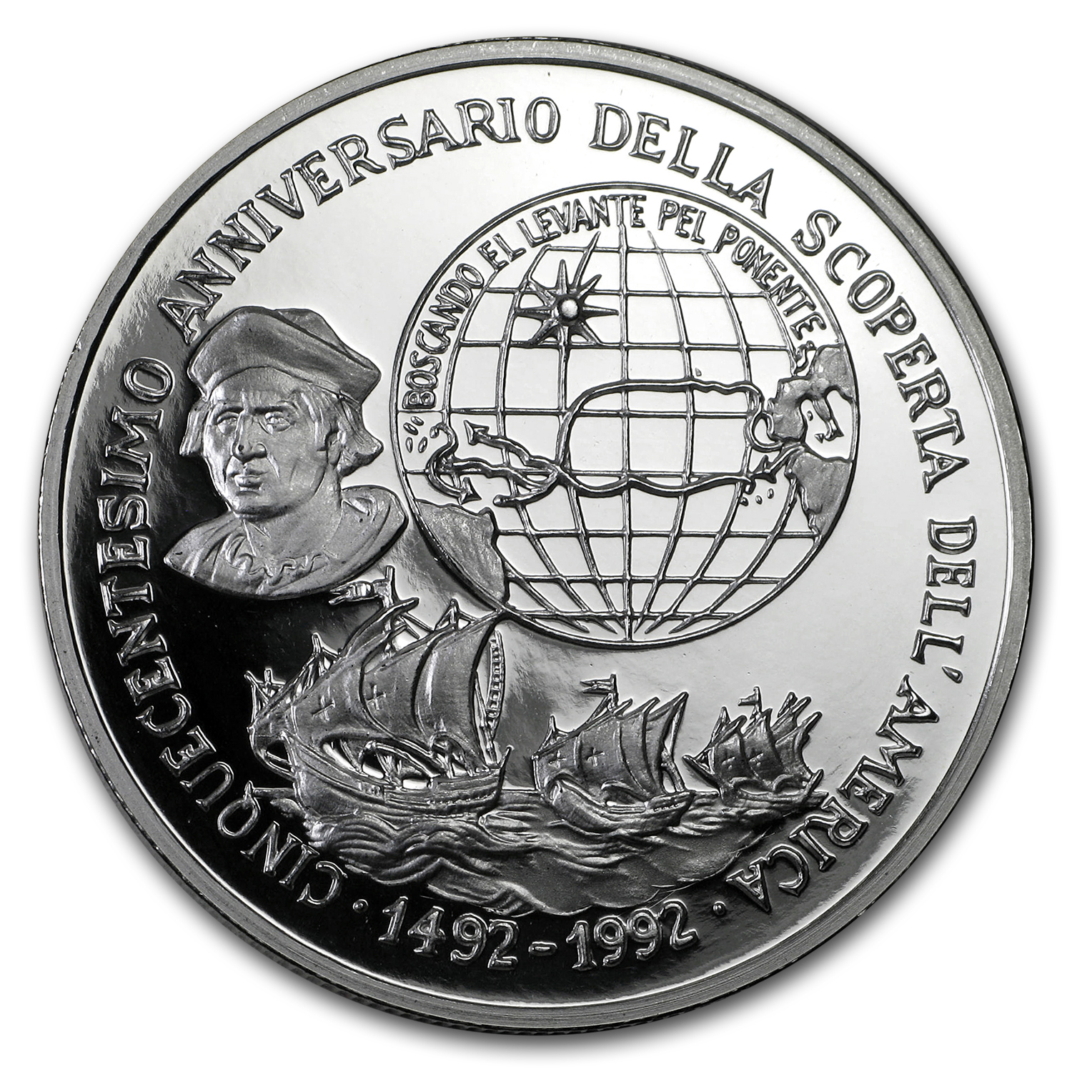 1 oz Silver Round - 1992 PAMP Suisse (Christopher Columbus)