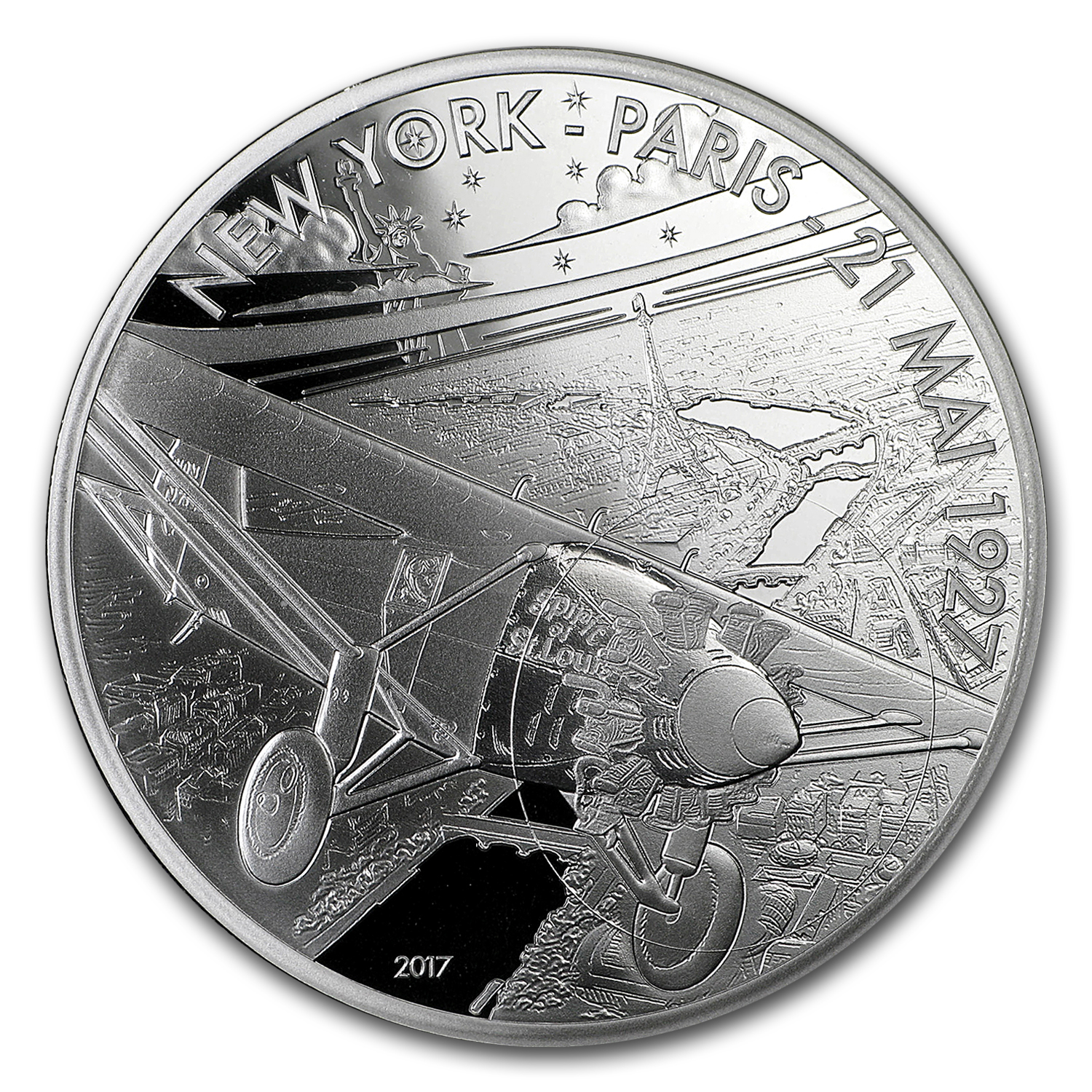 2017 Proof Silver €10 Aviation & History (Spirit of St. Louis)