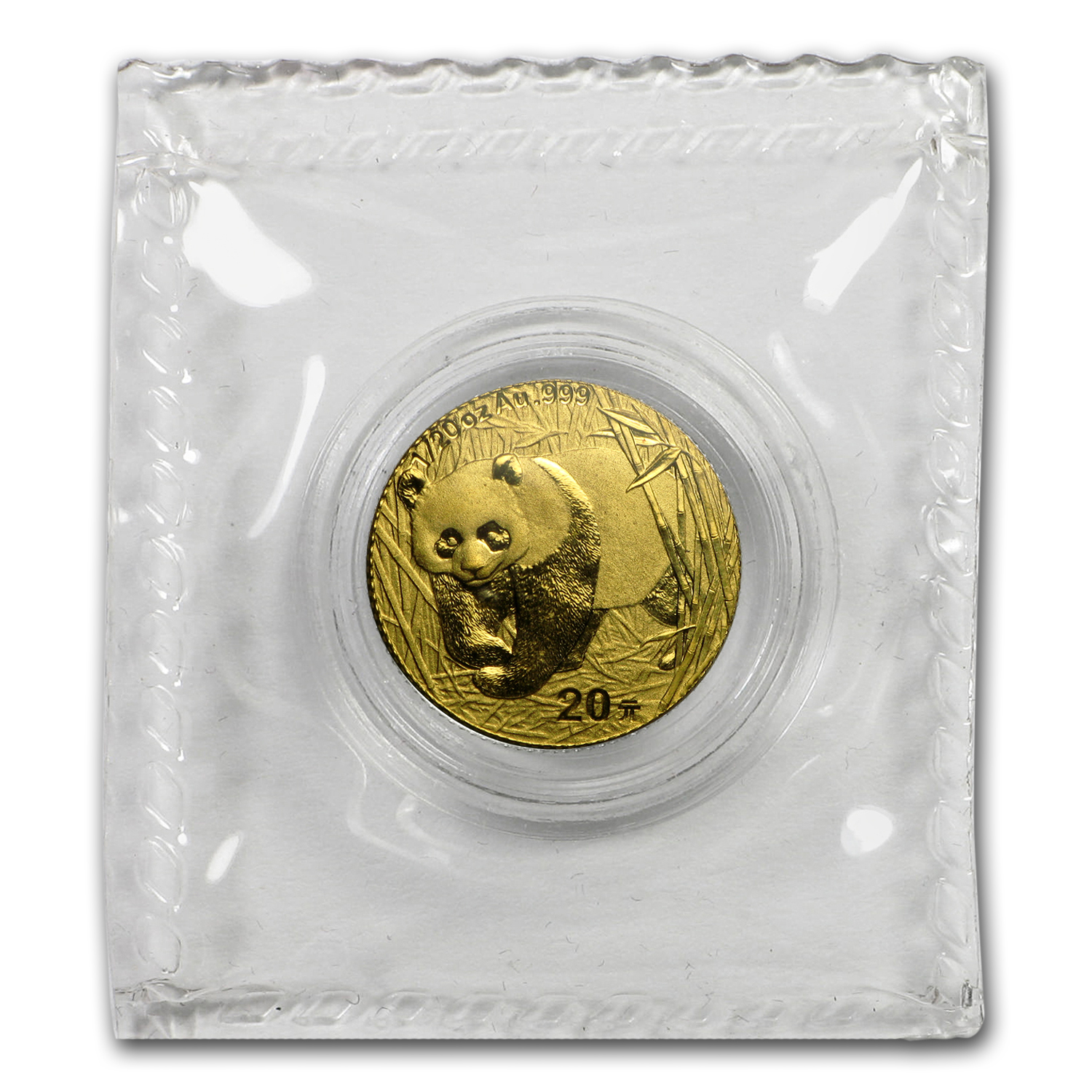 2001 1/20 oz Gold Chinese Panda BU (Sealed)
