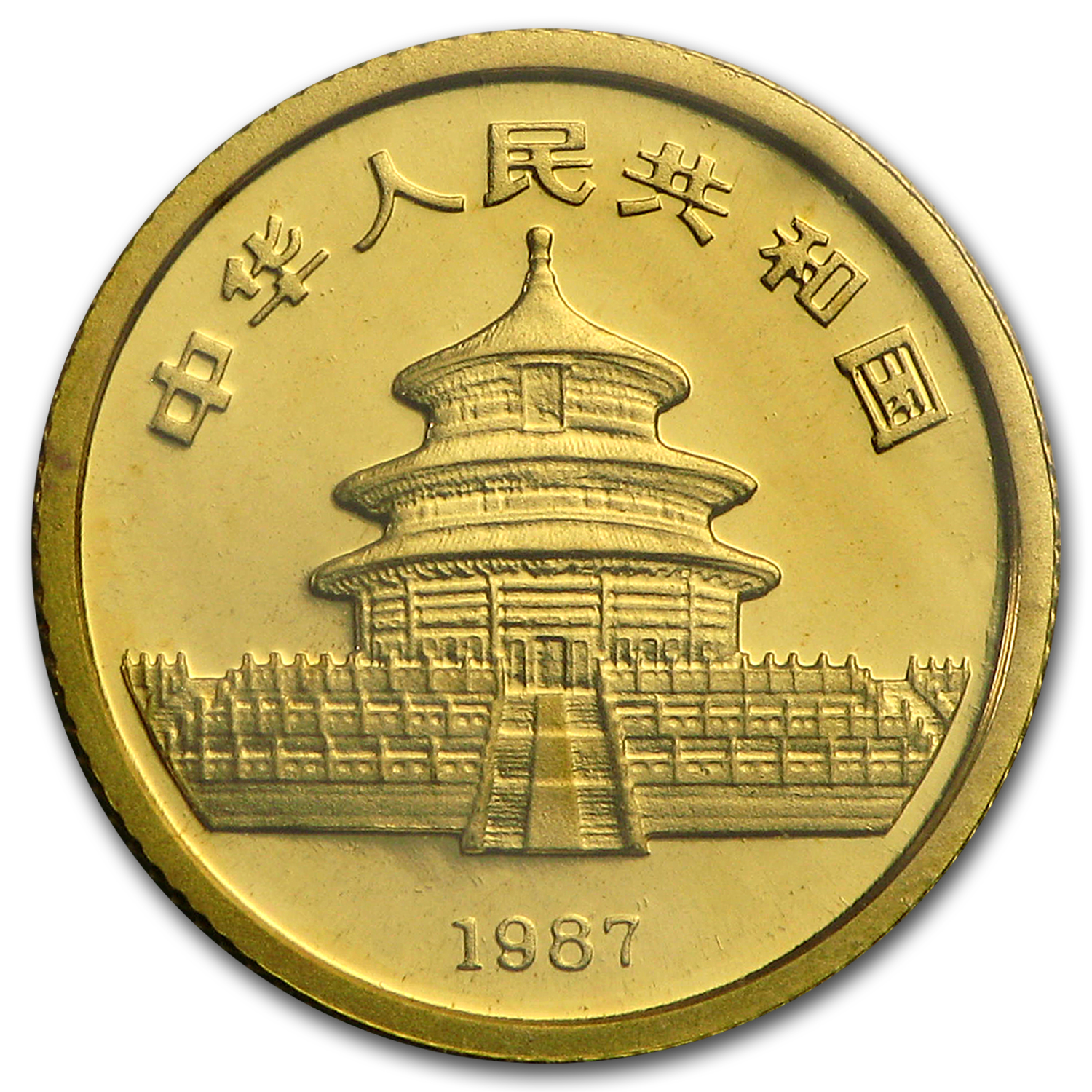 1987-Y China 1/20 oz Gold Panda BU (Sealed)