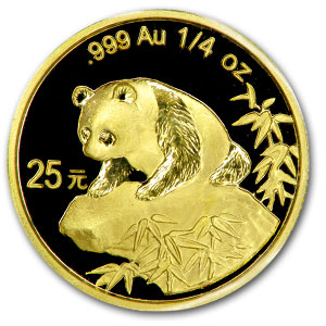 1999 China 1/4 oz Gold Panda Large Date/No Serif BU (Sealed)