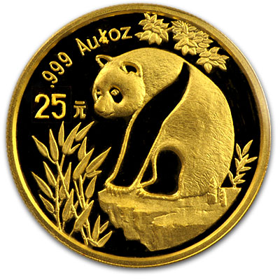 1993 China 1/4 oz Gold Panda Large Date BU (Sealed)