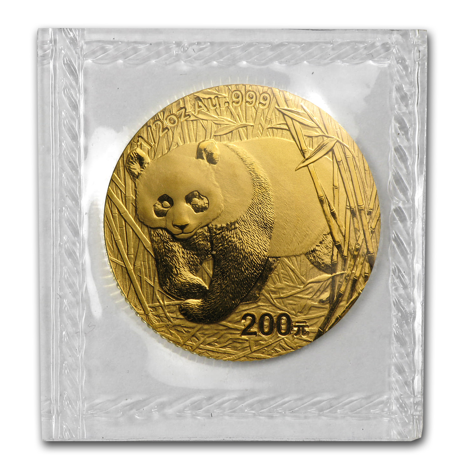 2002 China 1/2 oz Gold Panda BU (Sealed)