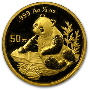 1998 China 1/2 oz Gold Panda Small Date BU (Sealed)