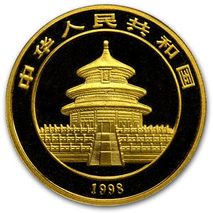 1998 (1/2 oz) Gold Chinese Panda - (Sealed) - Small Date