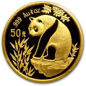 1993 China 1/2 oz Gold Panda Large Date BU (Sealed)
