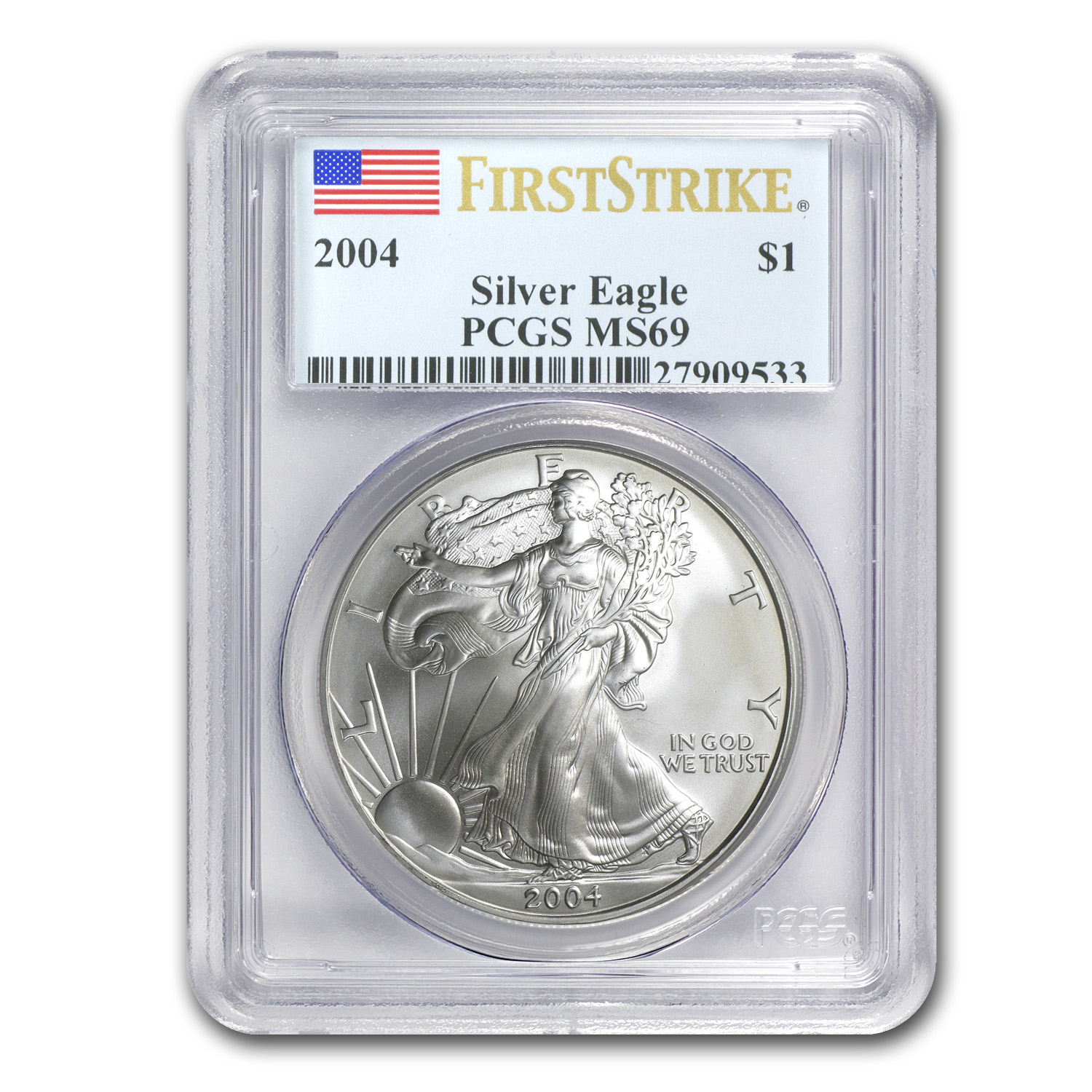 2004 Silver American Eagle MS-69 PCGS (First Strike)