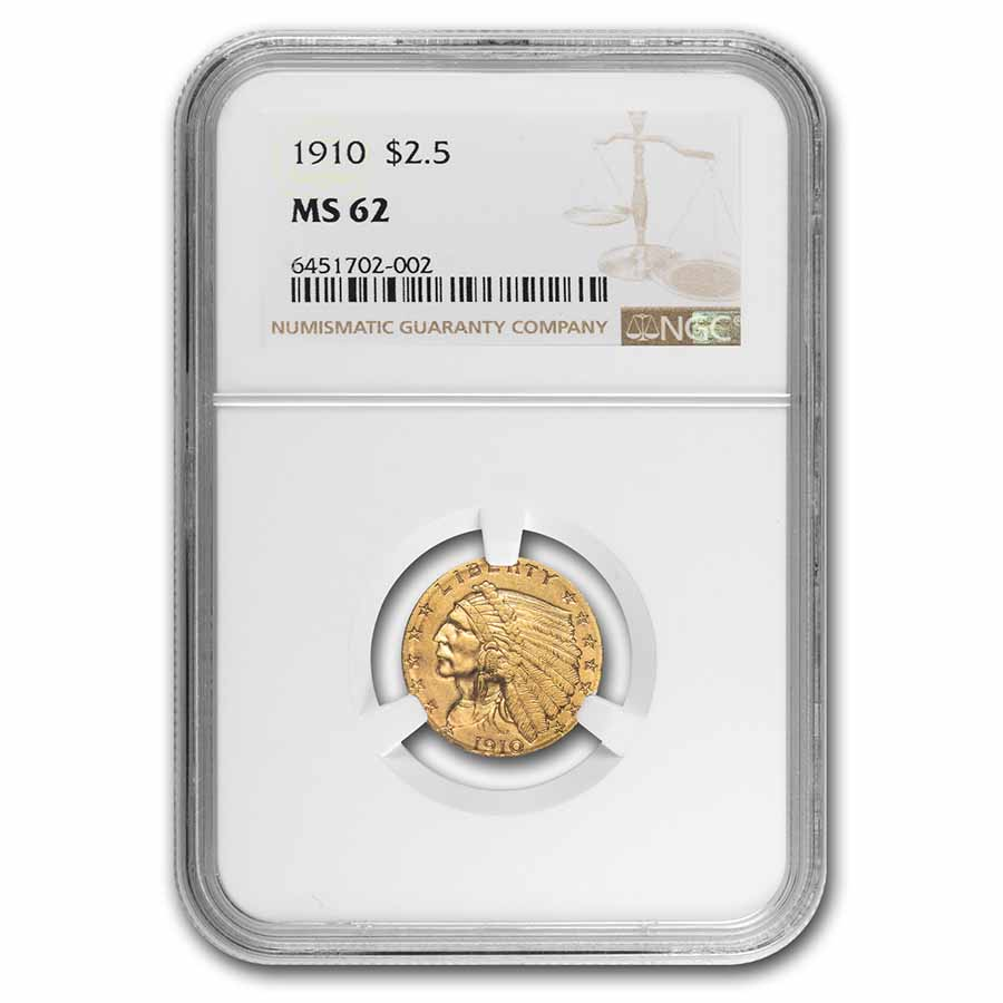 1910 $2.50 Indian Gold Quarter Eagle MS-62 NGC