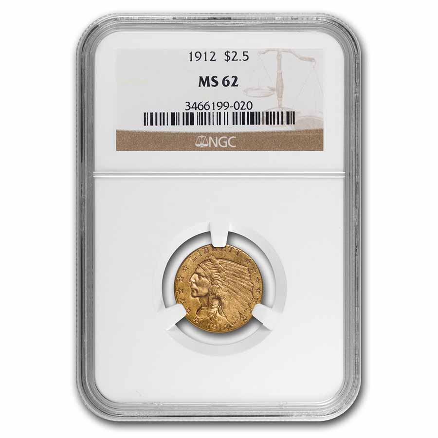 1912 $2.50 Indian Gold Quarter Eagle MS-62 NGC