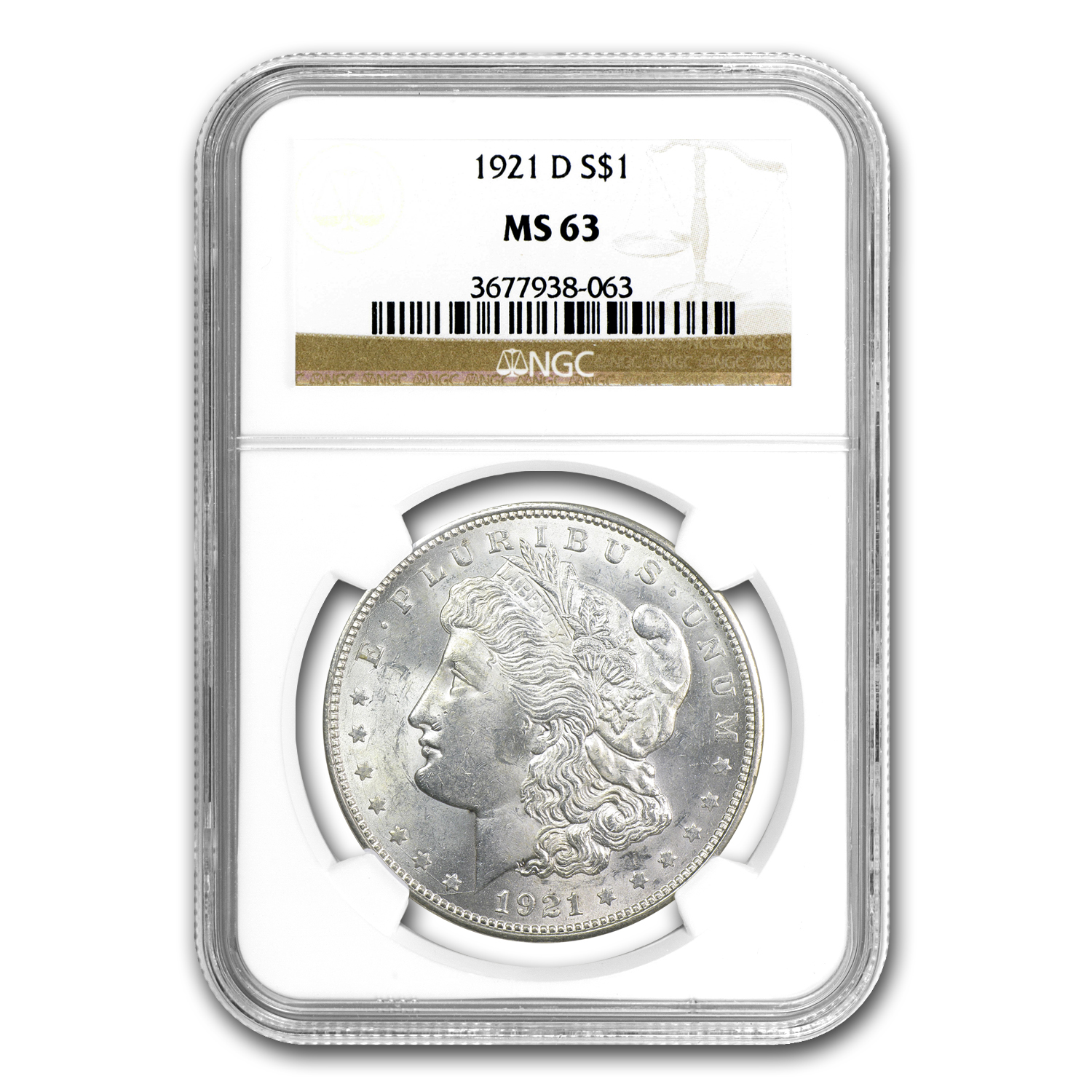 1921-D Morgan Dollar MS-63 NGC