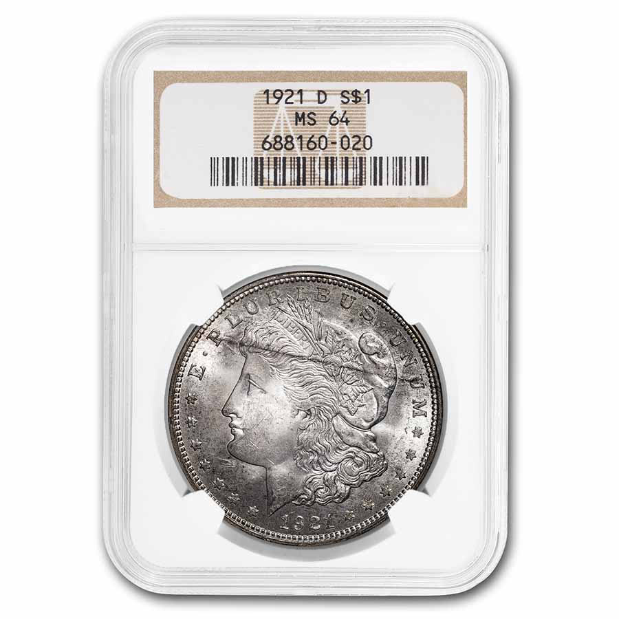 1921-D Morgan Dollar MS-64 NGC