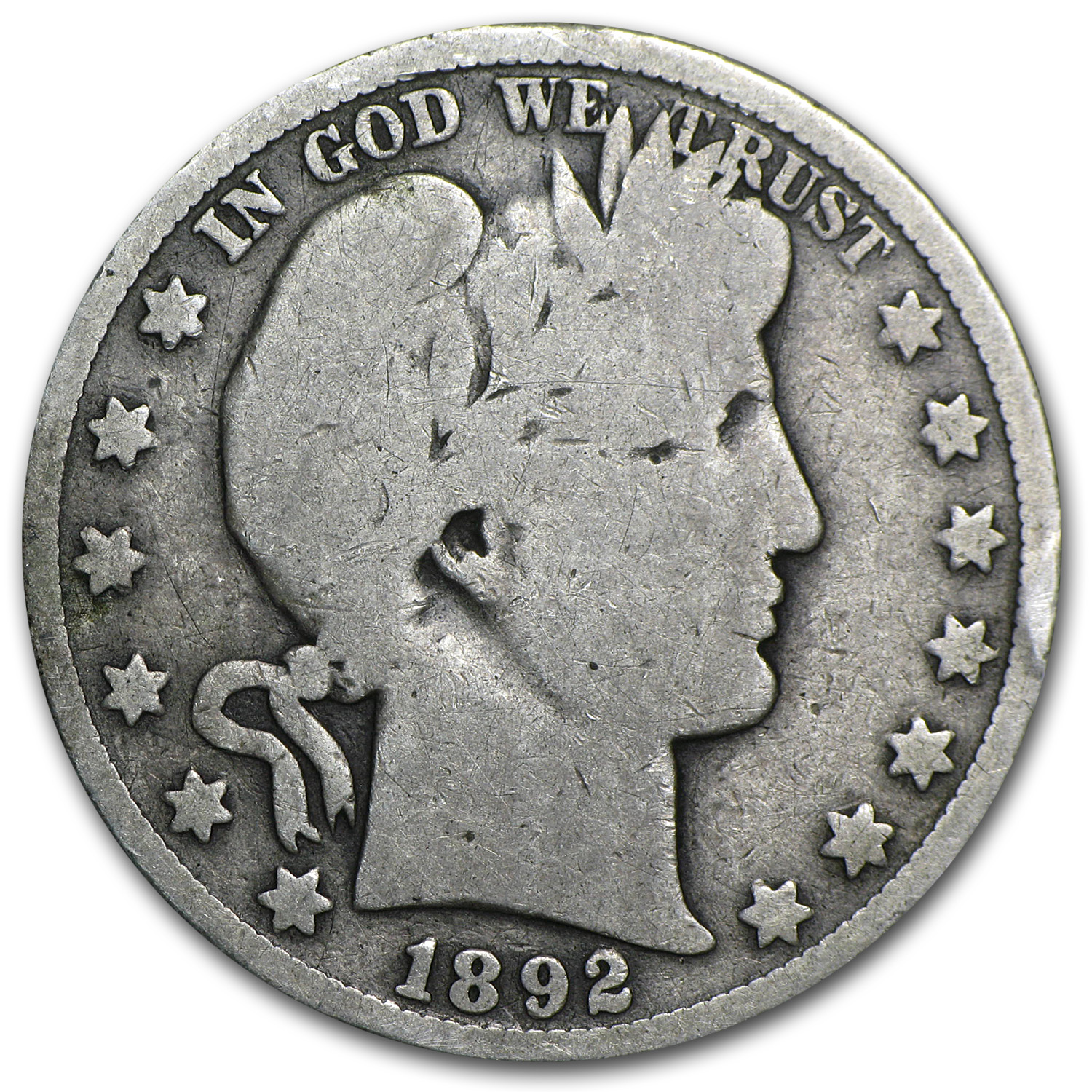 1892-O Barber Half Dollar - Almost Good