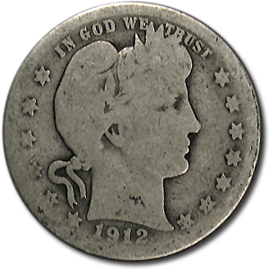 1912-S Barber Quarter AG