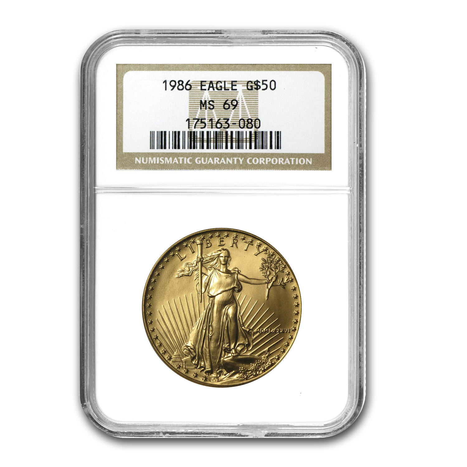 1986 1 oz Gold American Eagle MS-69 NGC