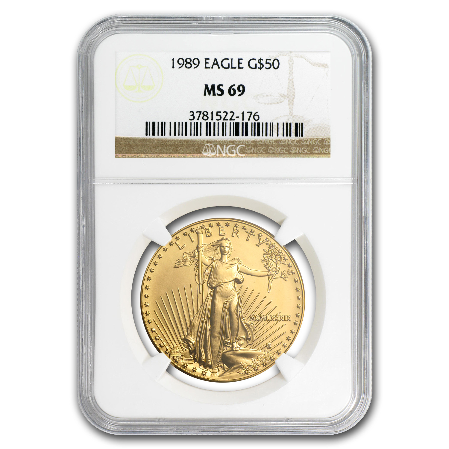 1989 1 oz Gold American Eagle MS-69 NGC