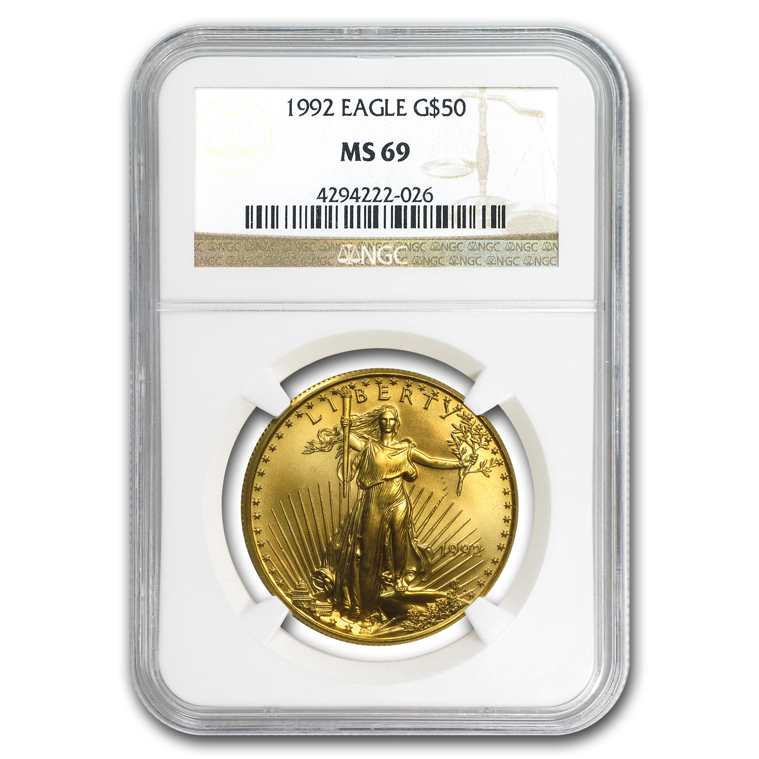 1992 1 oz Gold American Eagle MS-69 NGC
