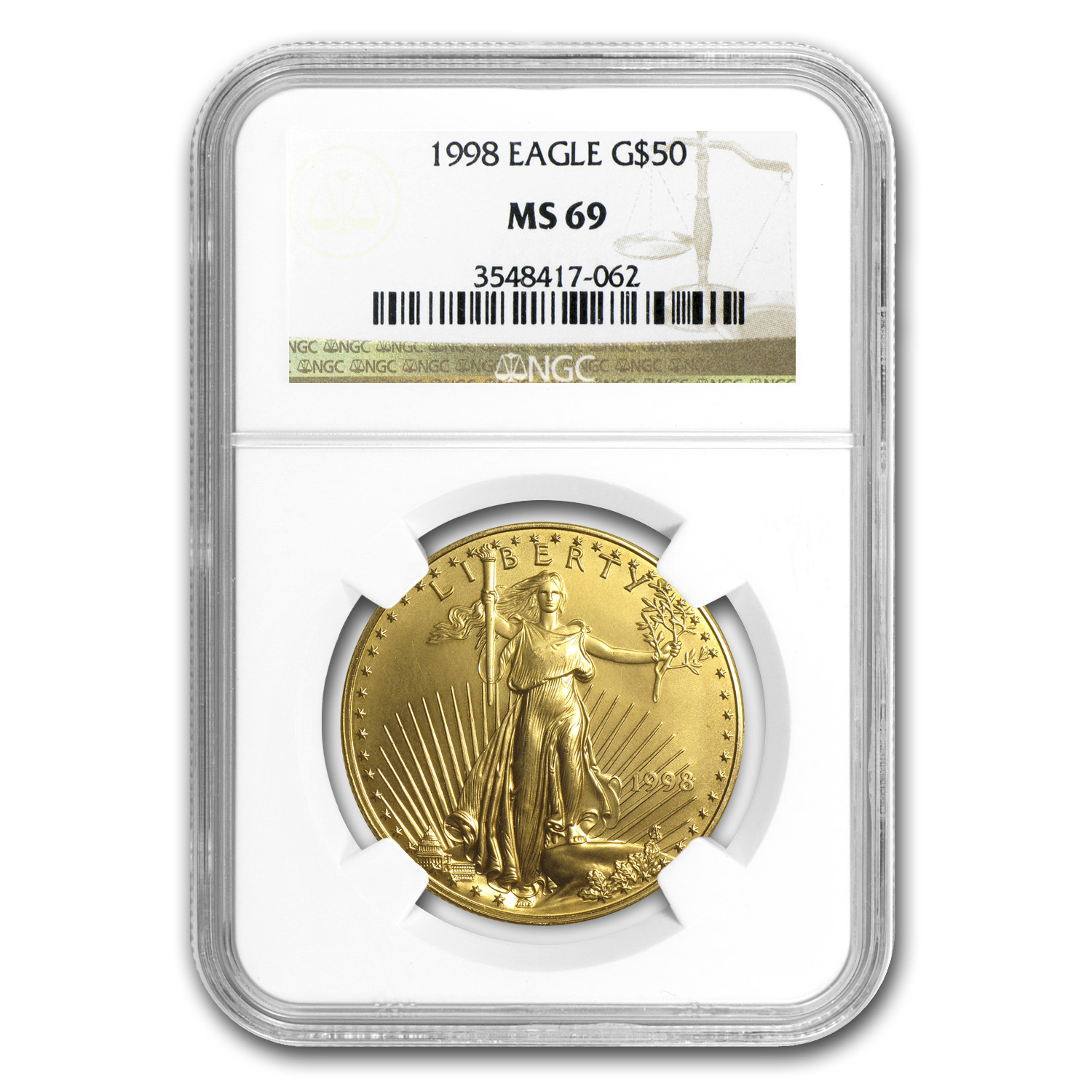 1998 1 oz Gold American Eagle MS-69 NGC