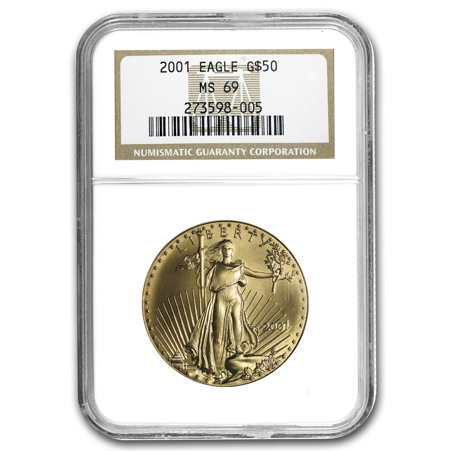 2001 1 oz Gold American Eagle MS-69 NGC