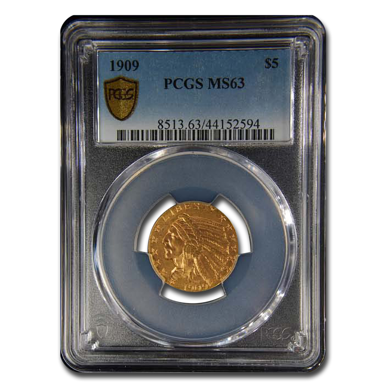 1909 $5 Indian Gold Half Eagle MS-63 PCGS
