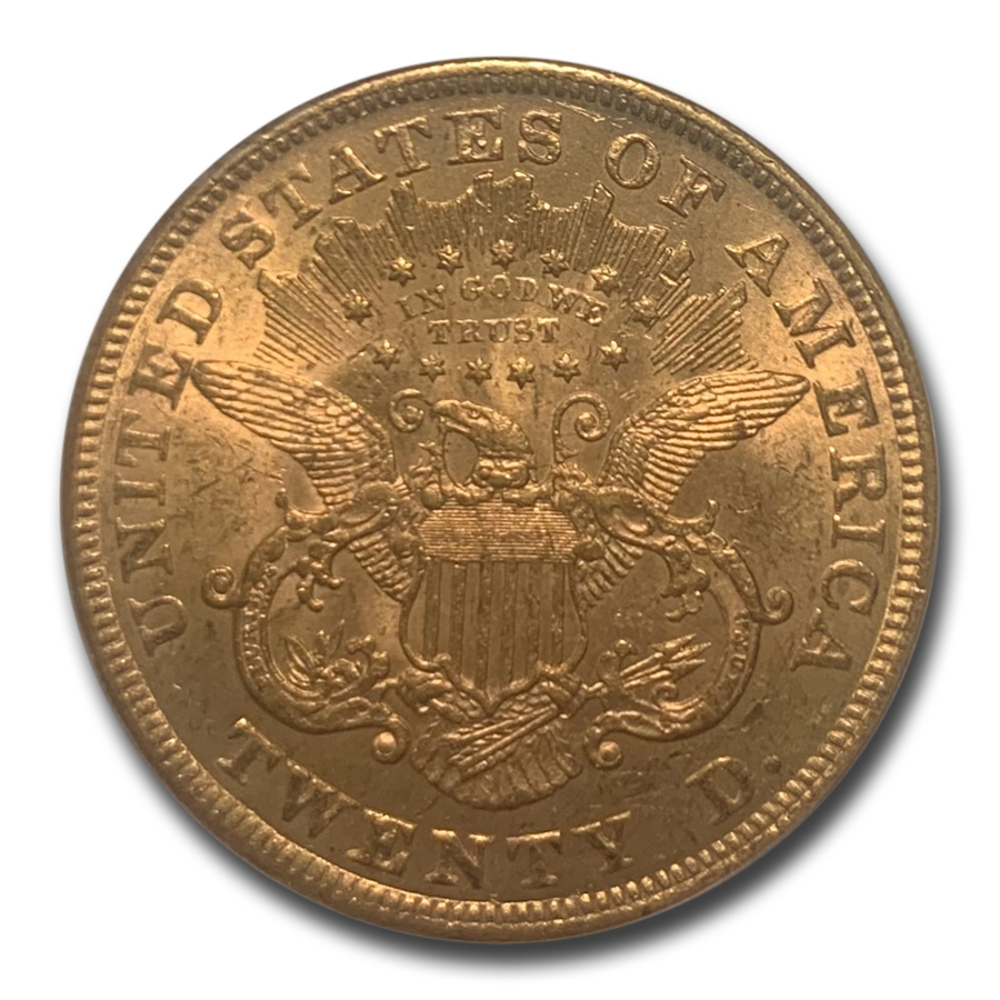 1873 $20 Liberty Gold Double Eagle Open 3 AU-55 PCGS