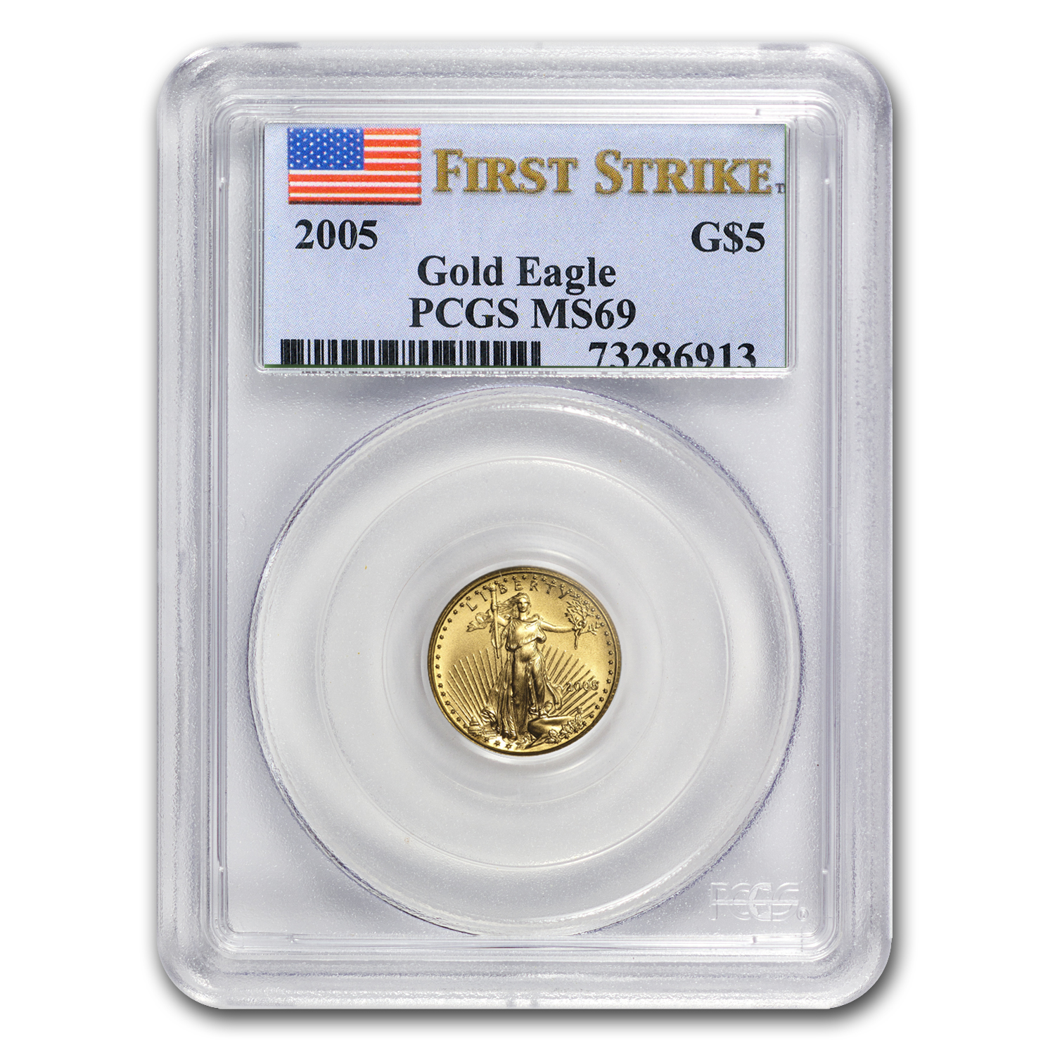 2005 1/10 oz Gold American Eagle MS-69 PCGS (FS)