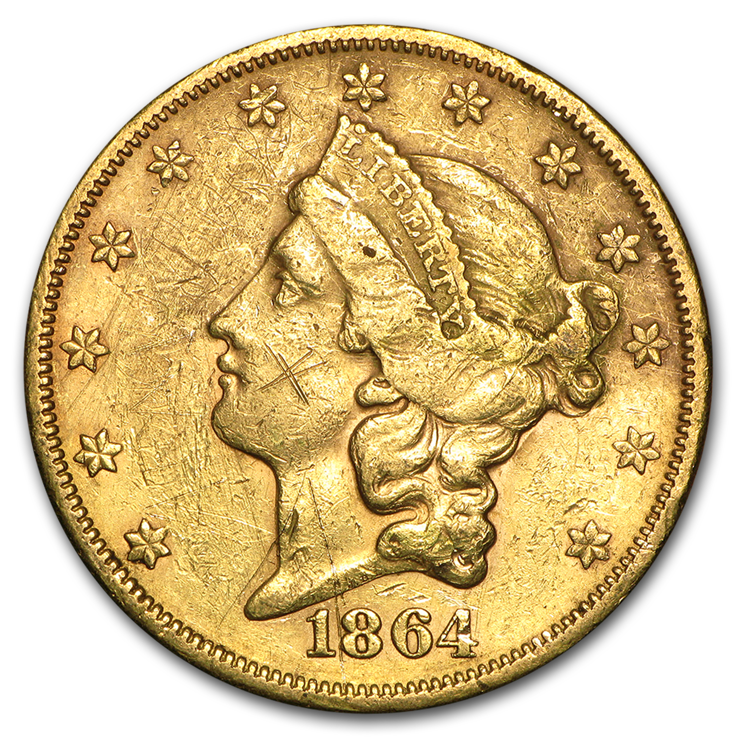1864-S $20 Liberty Gold Double Eagle XF Details (Cleaned)