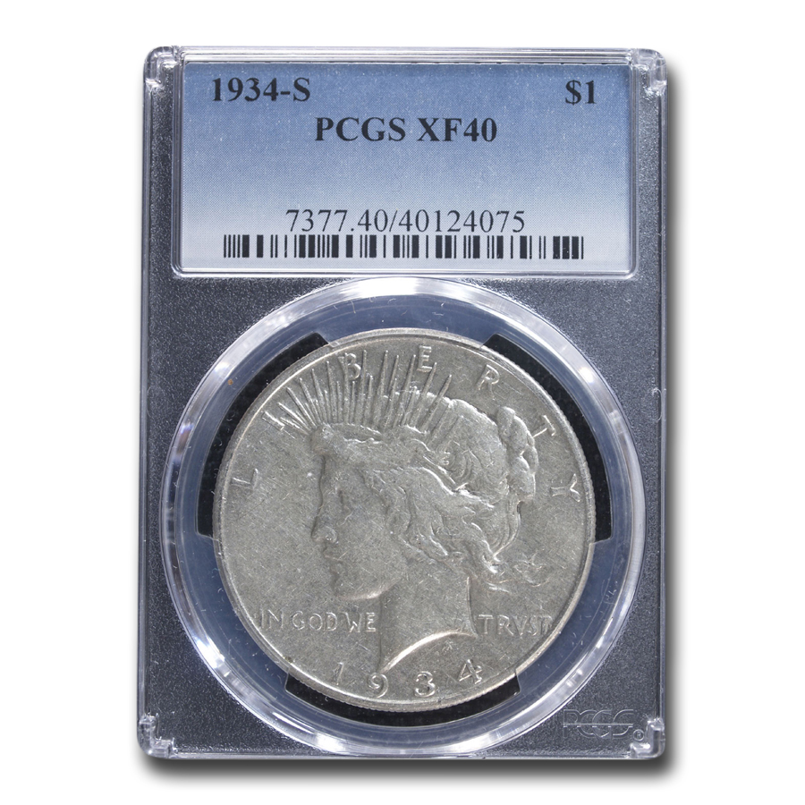 1934-S Peace Dollar XF-40 PCGS