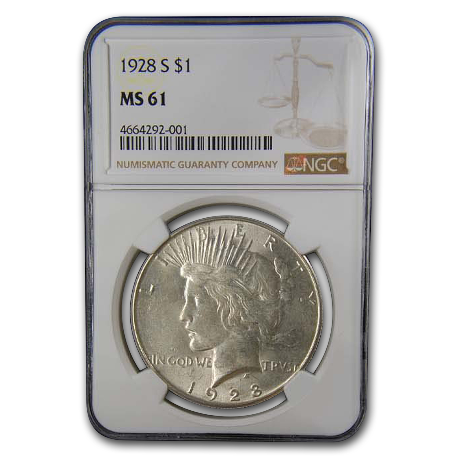 1928-S Peace Dollar MS-61 NGC