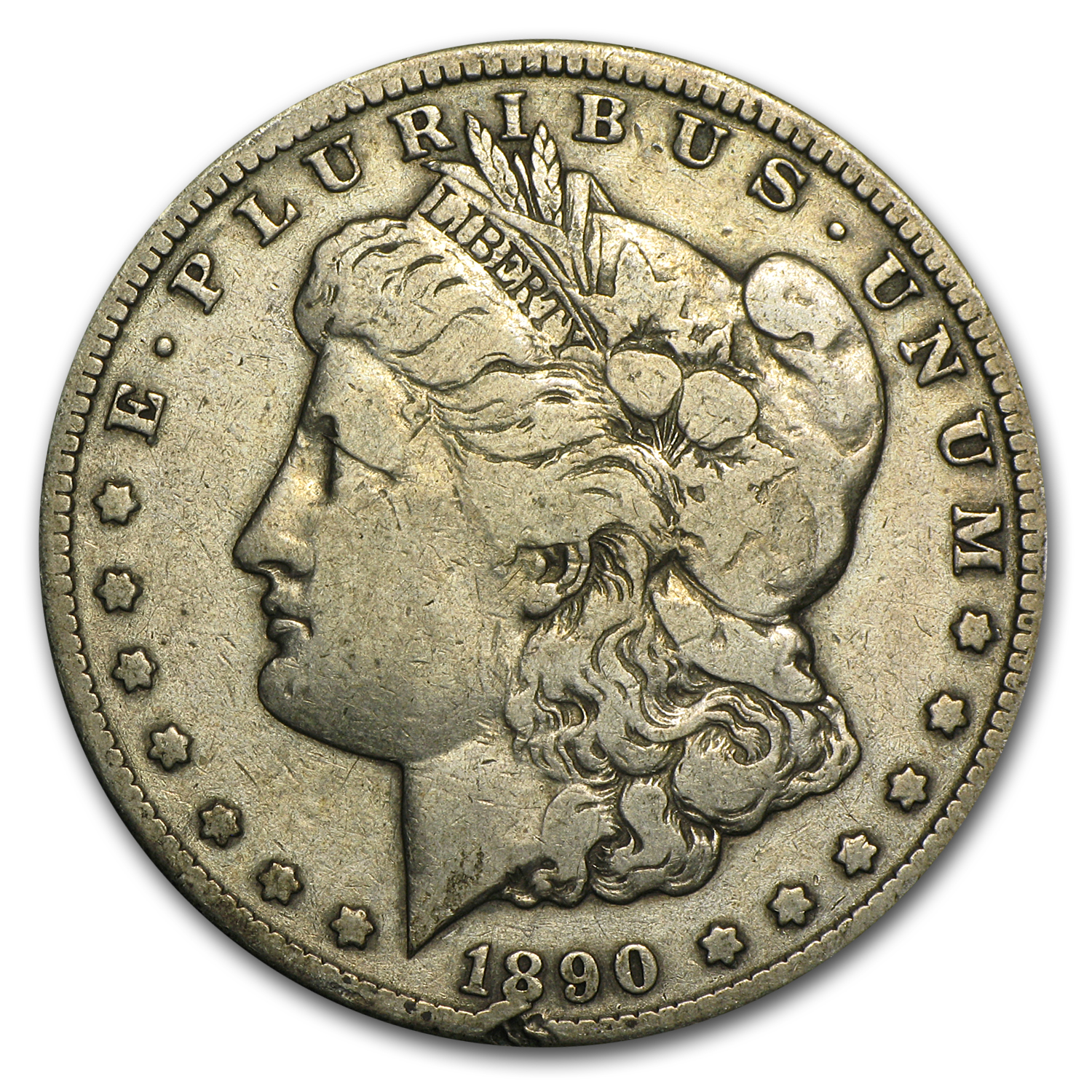 1890-CC Morgan Dollar Fine Details (Cleaned)