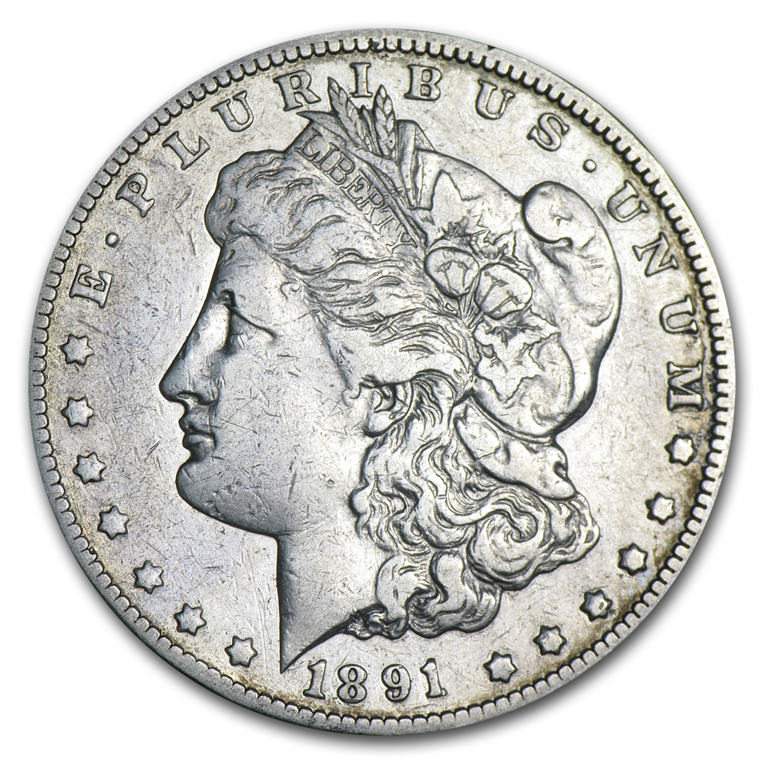 1891-CC Morgan Dollar - Very Fine Details - Cleaned