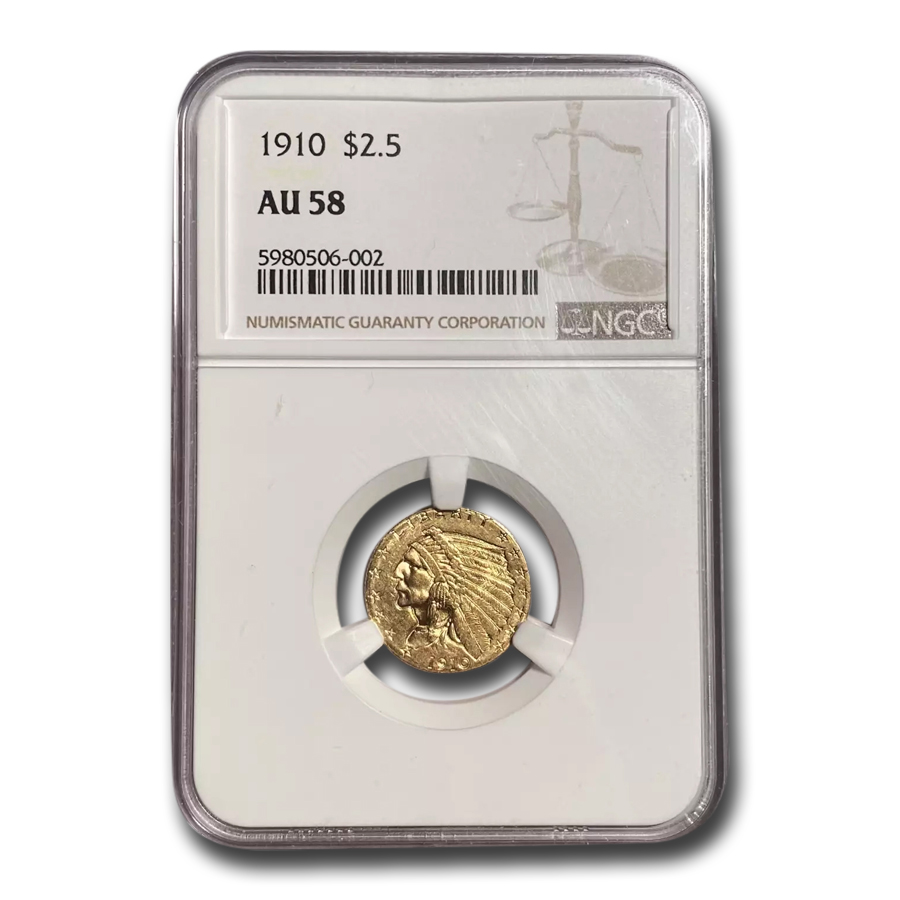 1910 $2.50 Indian Gold Quarter Eagle AU-58 NGC