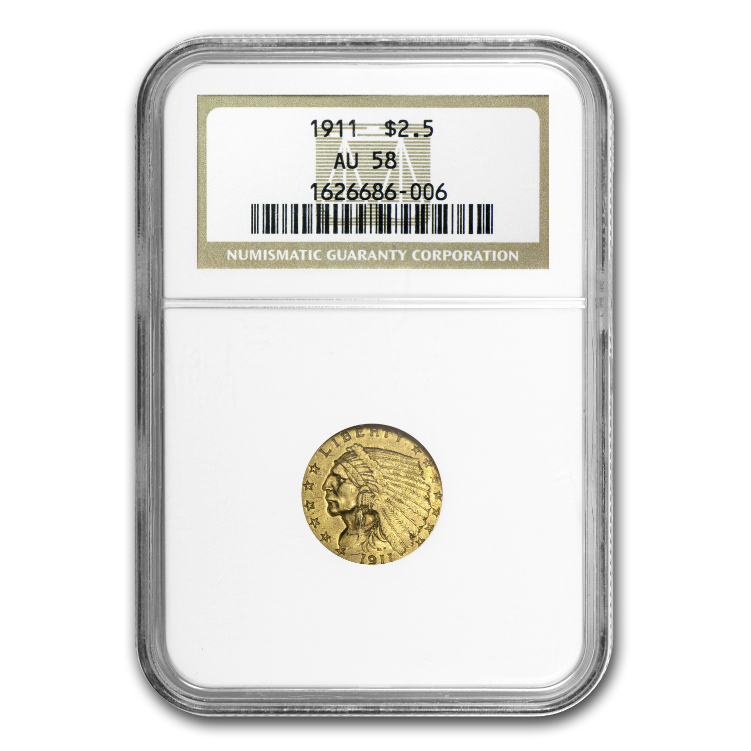 1911 $2.50 Indian Gold Quarter Eagle AU-58 NGC