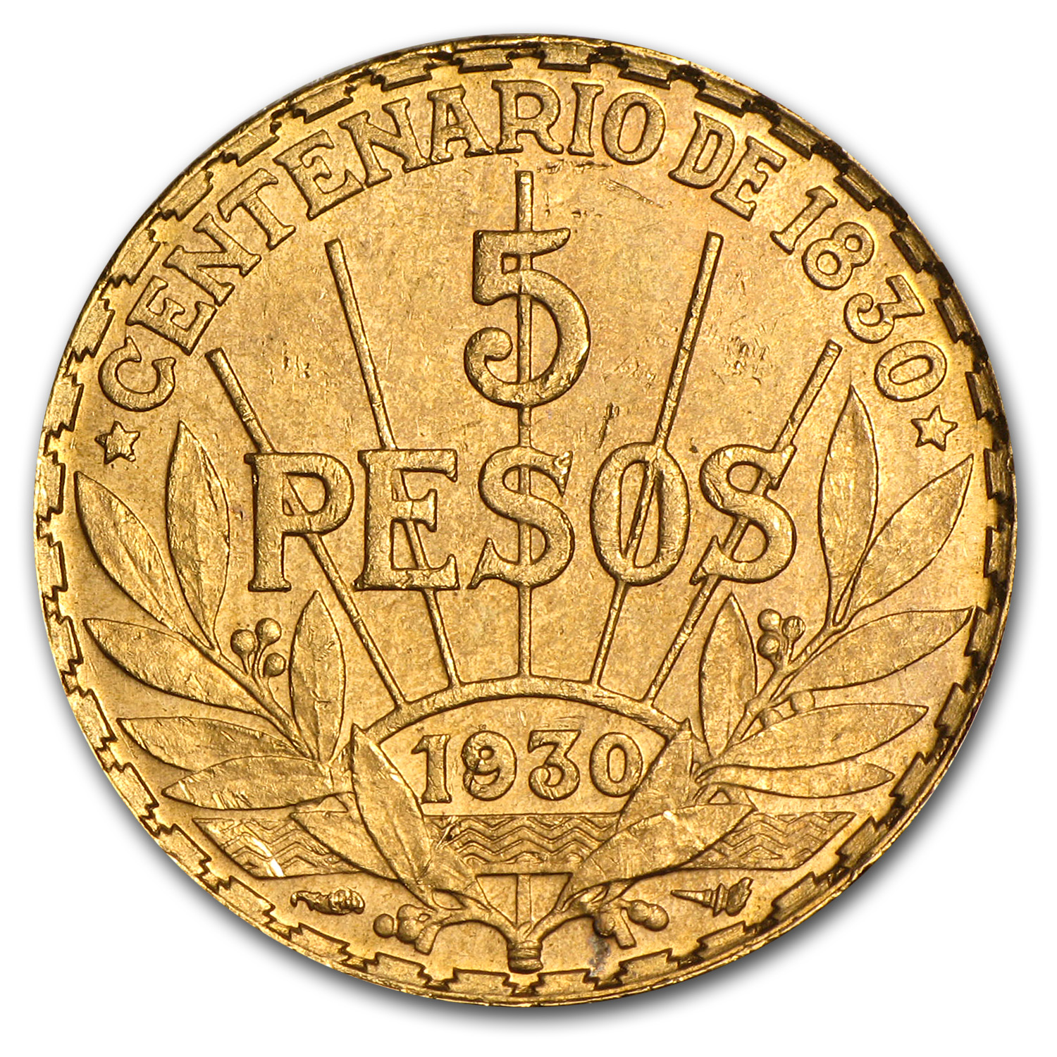1930 Uruguay Gold 5 Pesos Au Agw 2501 Gold Coins From