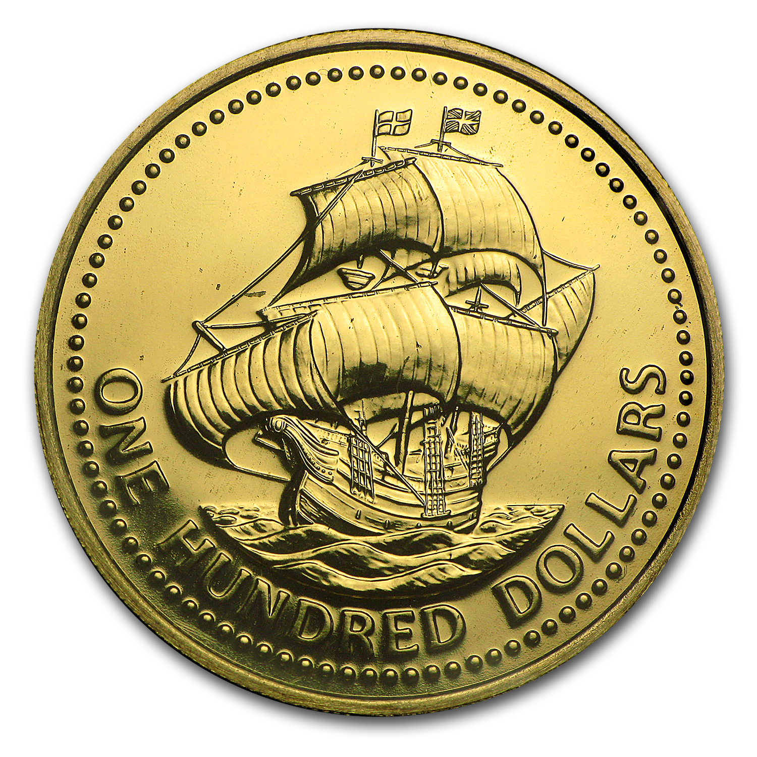 Barbados 1975 Gold One Hundred Dollar BU/Proof Ship