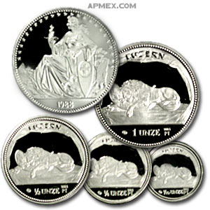 1988 Swiss Proof 4 Coin Platinum Set (APW 1.85 oz)