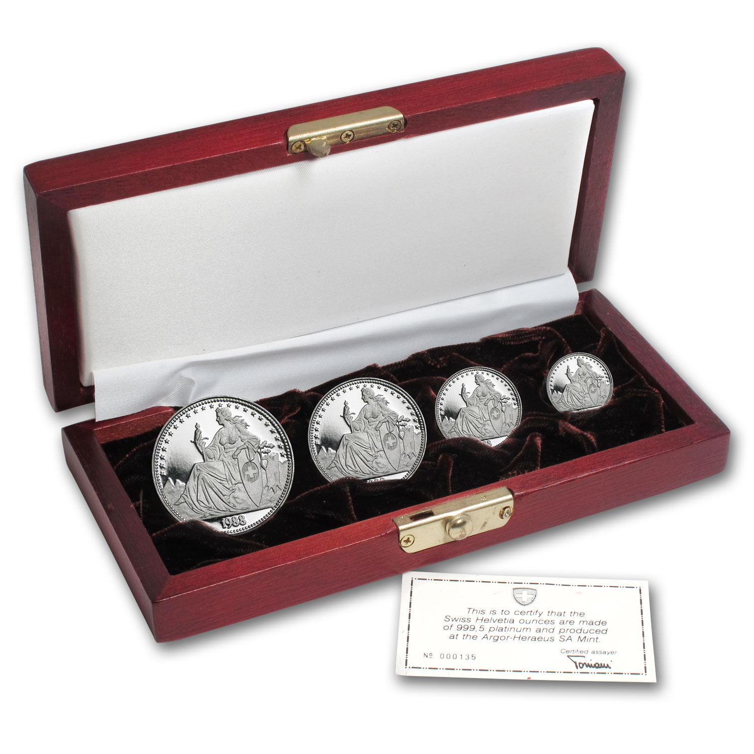 1988 Switzerland 4-Coin Proof Platinum Lucerne Set (1.85 oz)