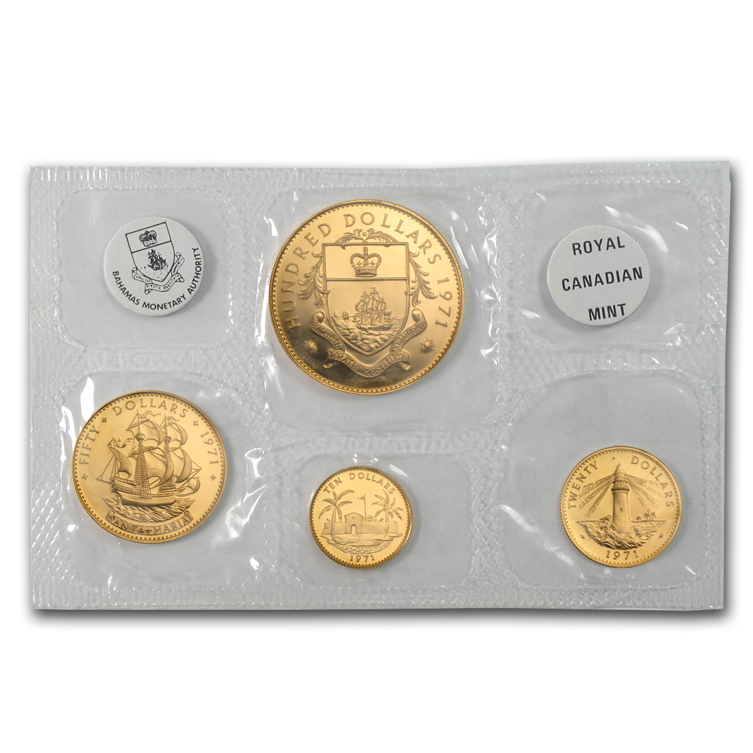 1971 Bahamas 4-Coin Gold Set Proof (AGW 2.118)