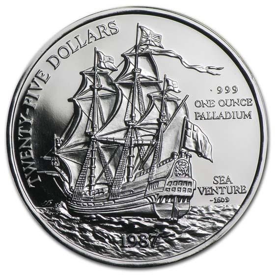 1987 Bermuda 1 Oz Palladium Sea Venture Proof Palladium